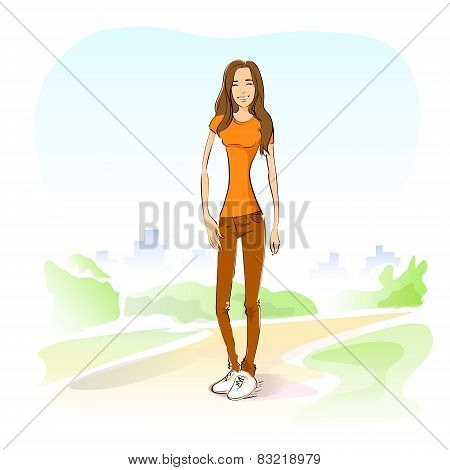 young student girl casual outdoor green grass standing on road