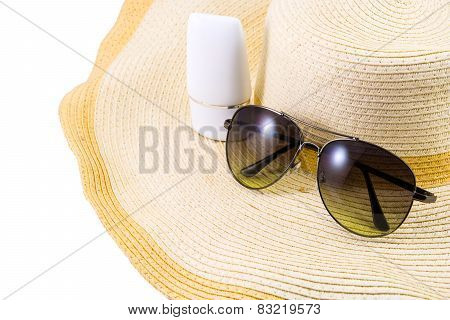 Sunglasses And Sunscreen On Hat