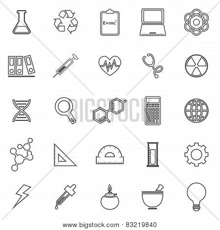 Science Line Icons On White Background