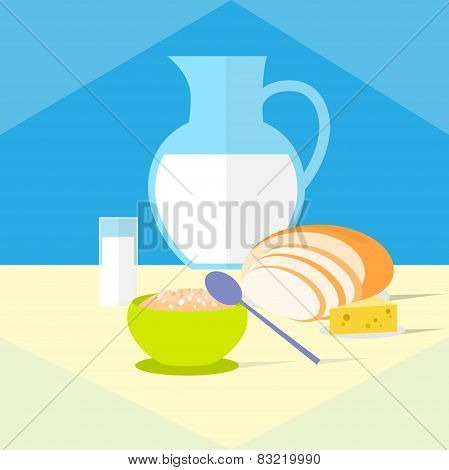 cereal bowl milk bread cheese healthy food breakfast flat icon