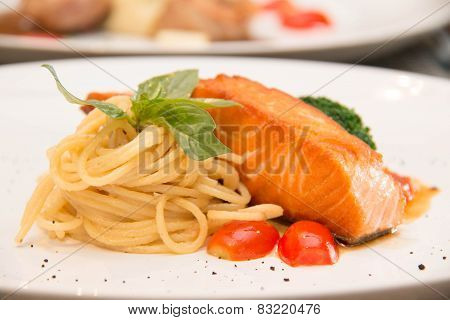 Stake From A Salmon With Vegetables