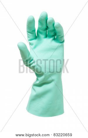 Human hand in a glove on white background