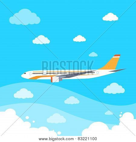 aircraft flat design style vector illustration airplane flying in sky