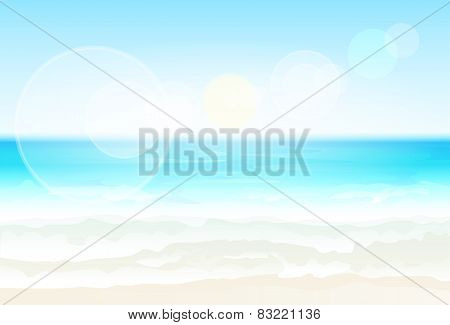 Sea Shore Sand beach Summer vacation blur Vector