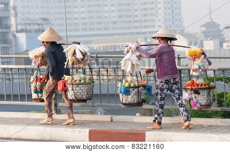 Street Vendors Over Bridge