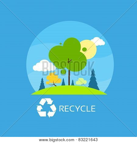 green tree recycle flat eco icon blue sky clouds vector