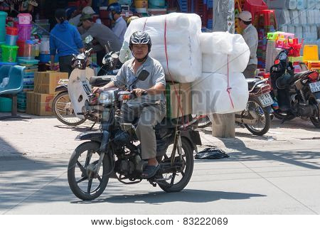 Loaded Motorcyclist