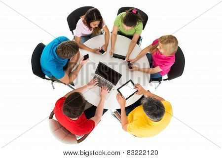 Friends Using Electronic Devices