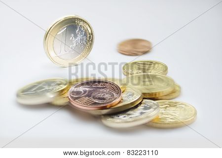 One Euro Coin And Euro Coins