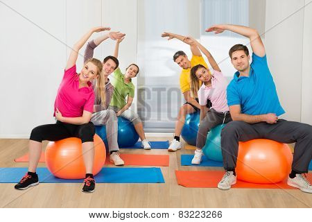 Group Of Happy Multiethnic People Exercising