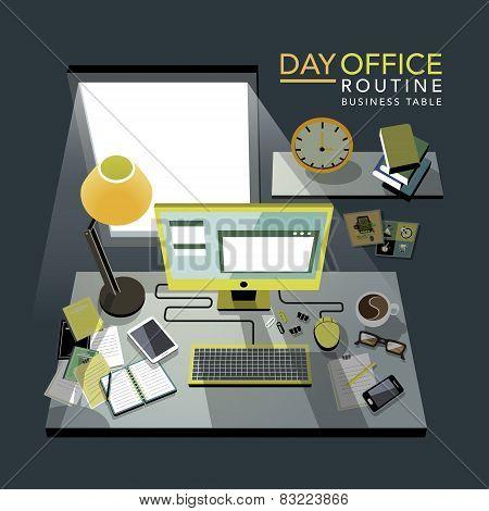 Flat 3D Isometric Office Routine Illustration