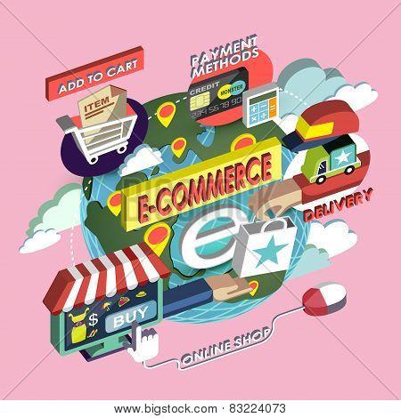 Flat 3D Isometric E-commerce Concept Illustration