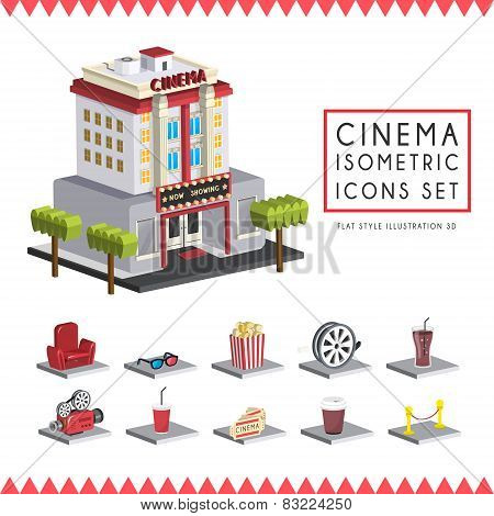 Flat 3D Isometric Cinema Icons Set Illustration