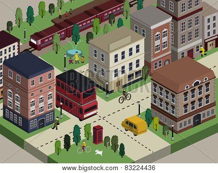 Flat 3D Isometric City Life Illustration