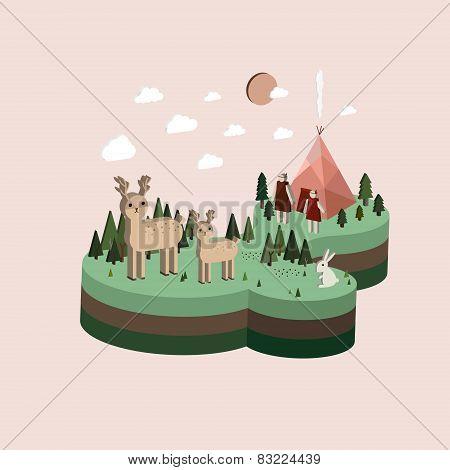 Flat 3D Isometric Camping Life Illustration