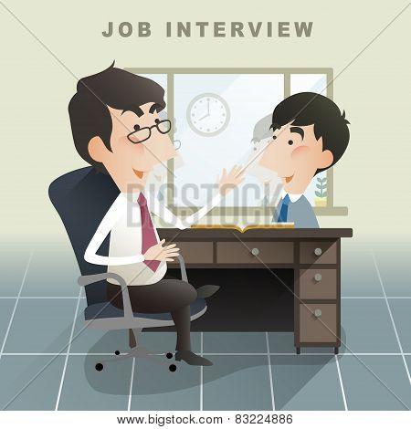 Job Interview Scene In Flat Design