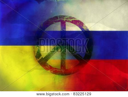 Grunge Illustration of Russian and Ukrainian Flags with peace symbol