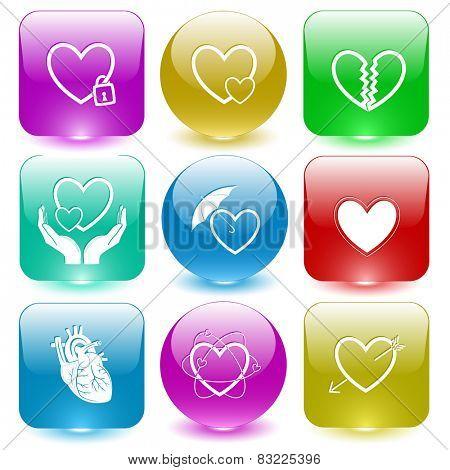 Heart shape set. Vector set glass buttons.