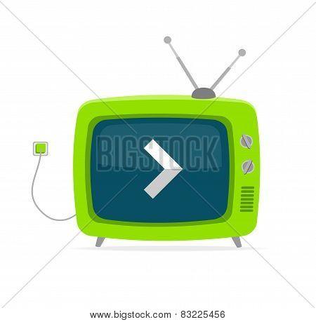 Vector green retro tv with arrow, wire Flat Design