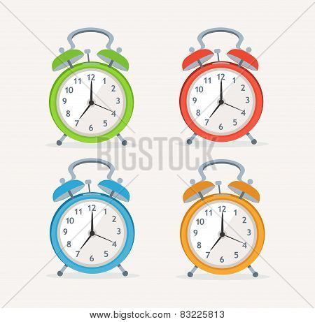 Vector wakeup clocks set. Flat Design