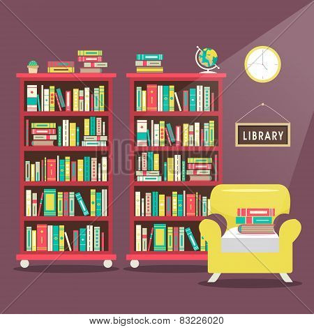 Library Scene Illustration In Flat Design