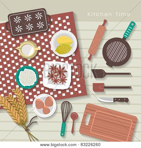 Baking Ingredients On Kitchen Table In Flat Design