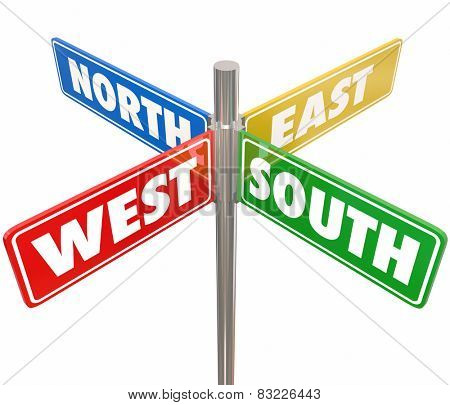 Road signs marked North, South, East and West pointing you in different directions to travel on roads or streets to different parts of the country, state, city or county