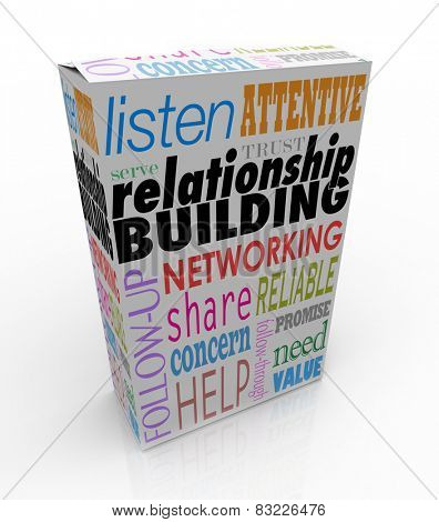 Relationship Building words on a product or package to help you grow your business through networking and attracting new customers