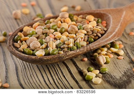 Lentils On A Wooden Background