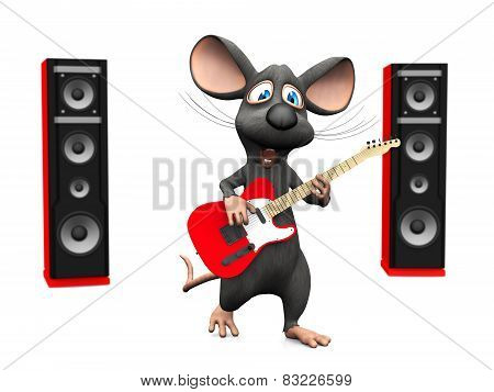 Cartoon Mouse Singing And Playing Guitar.