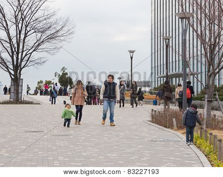 People With Children Walking