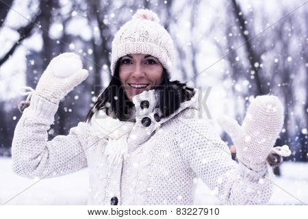 Pretty Woman With Snowball