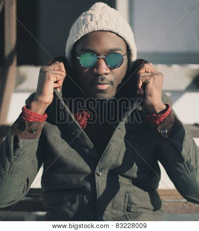 Fashion Portrait Of Handsome Man In Sunglasses Outdoors