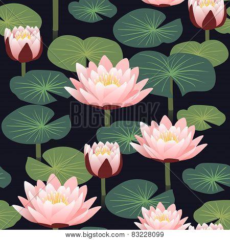 Elegant Floral Seamless Pattern With Lotus