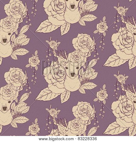 Elegant Seamless Pattern With Deer Antlers And Roses
