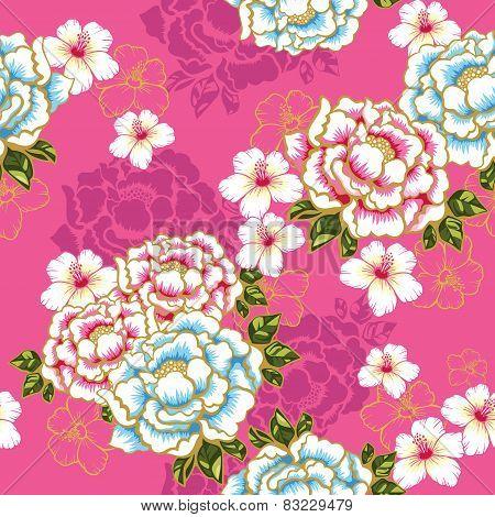 Taiwan Hakka Culture Floral Seamless Pattern