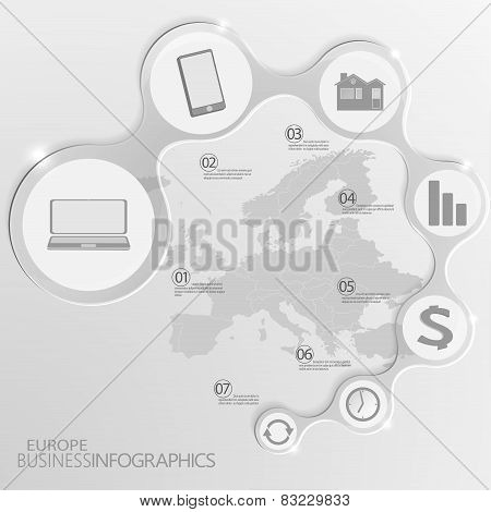 Europe Map and Elements Infographic. Vector illustration