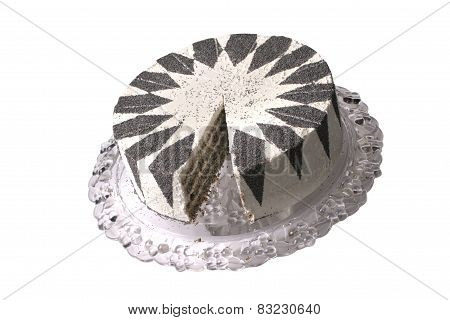 Cake With A Poppy And Cream