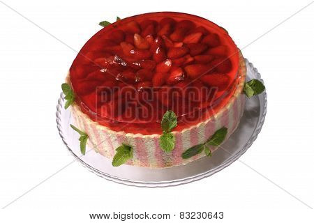 Cake With A Mint And Strawberry Jelly