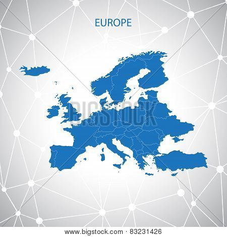 Europe map. Communication background vector
