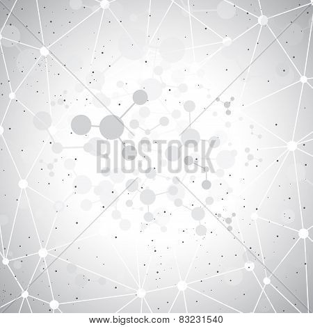 Molecules on gray background. Vector illustration