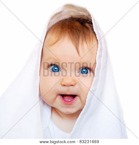 Surprised Baby Under The White Towel