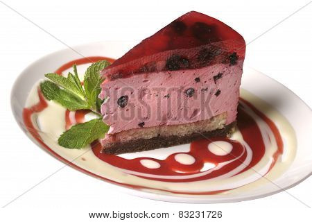 Cake With A Mint And Berry Jelly