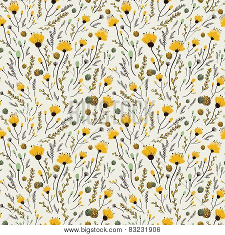 Lovely Yellow Flower Seamless Pattern