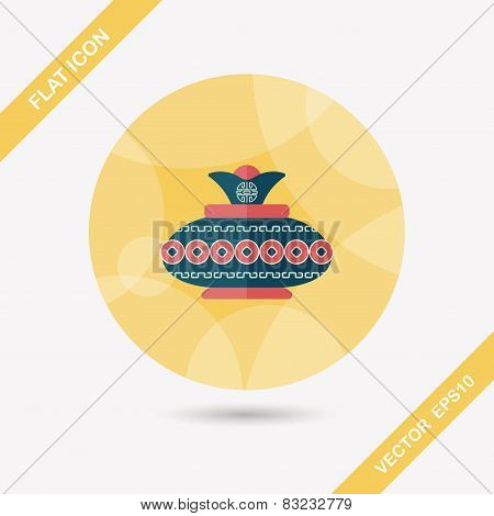 Chinese New Year Pottery And Porcelain Flat Icon With Long Shadow,eps10