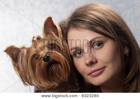 Young Woman And Pet