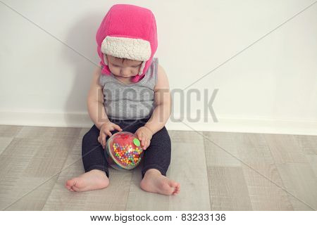 Cute Baby Playing With Ball;