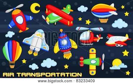 air transportation vector set