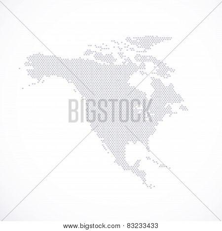 North America Map hexagon . Vector illustration