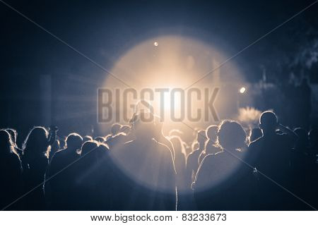 Crowd At A Concert In A Vintage Light